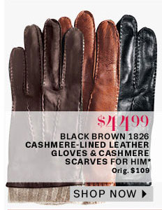 L&T Black/Brown 1826 Cashmere-Lined Leather Gloves & Cashmere Scarves for Him