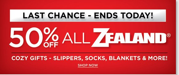 Last chance to save 50% on great Zealand cozy gifts including socks, slippers, blankets and more! Plus, give the gift of comfort and enjoy FREE Shipping on ALL regular priced shoes and boots (or orders of $100 or more) for guaranteed delivery by December 24th.* Shop great brands like UGG® Australia, Dansko, ECCO and more online at The Walking Company.