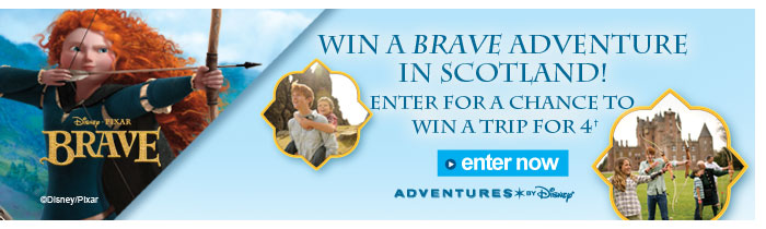 Win a brave adventure in Scotland!  Enter for a chance to win a trip for 4. Enter now.