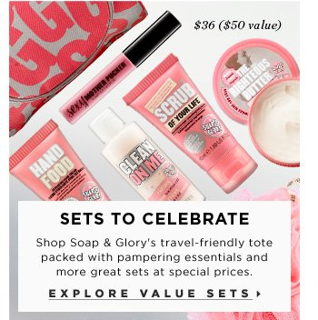 Sets To Celebrate. Shop Soap & Glory's travel-friendly tote packed with pampering essentials and more great sets at special prices. $36 ($50 Value). Explore value sets.