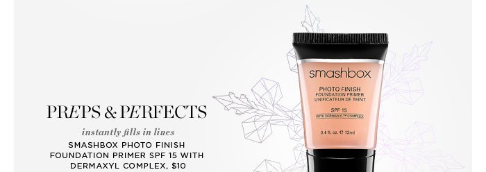 Preps & Perfects. Instantly fills in lines. Smashbox Photo Finish Foundation Primer SPF 15 With Dermaxyl Complex, $10