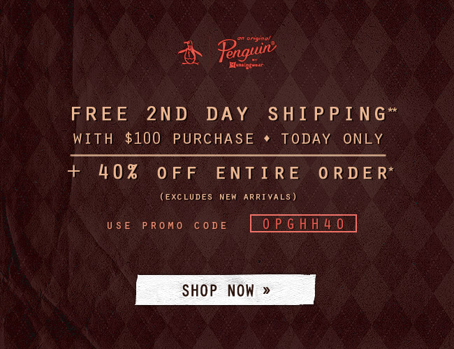 Free 2nd Day Shipping With $100 Purchase - TODAY ONLY - + 40% off Entire Order (Excludes New Arrivals)