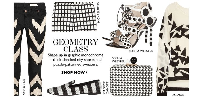 GEOMETRY CLASS Shape up in graphic monochrome  – think checked city shorts and puzzle-patterned sweaters. SHOP NOW