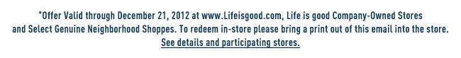 Offer Vaild through December 21, 2012