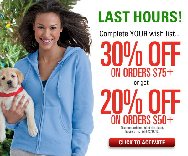 30% off orders $75+ or 20% off on orders $50+