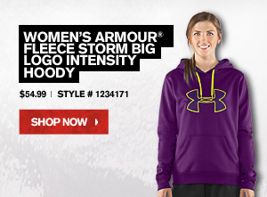 WOMEN'S ARMOUR® FLEECE STORM BIG LOGO INTENSITY HOODY - $54.99 - SHOP NOW.