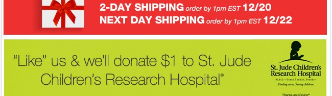 LIKE us on Facebook and we'll donate $1 to St. Jude Children's Research Hospital!