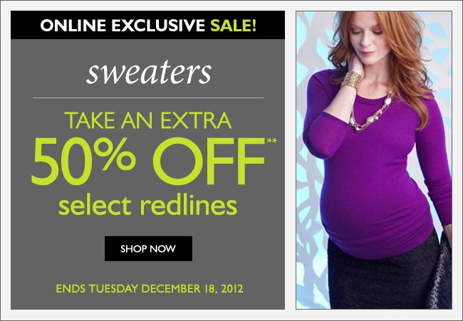 Online Only: Sweaters - Take an Extra 50% OFF Redlines - For a Limited Time