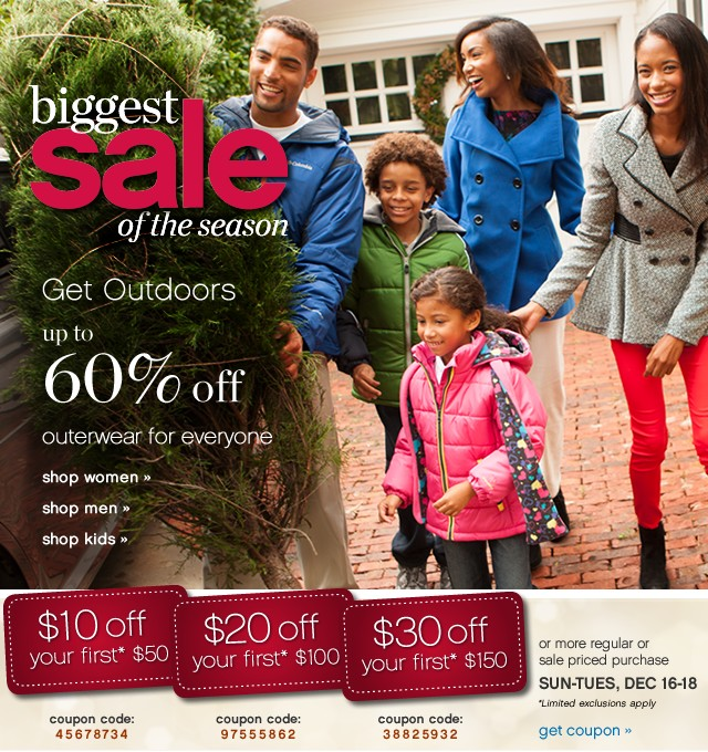 Biggest Sale of the season. Get outdoors. Up to 60% off outerwear for everyone.