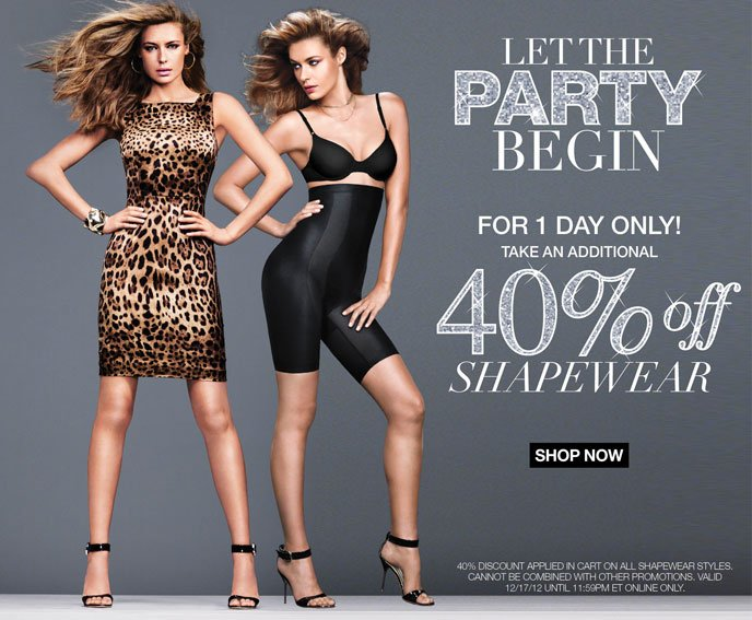 Let the Party Begin: For 1 Day Only Take an Additional 40% Off Shapewear
