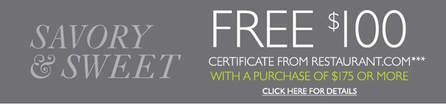 FREE $100 Restaurant.com Gift Certificate with $175 purchase