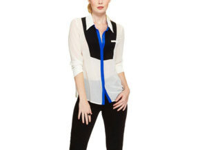 Tick all the trend boxes at once with this color blocking, graphic print blouse!