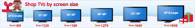 Shop TV's by screen size