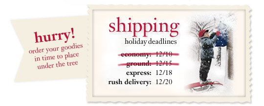 hurry! order your goodies in time to place under the tree...