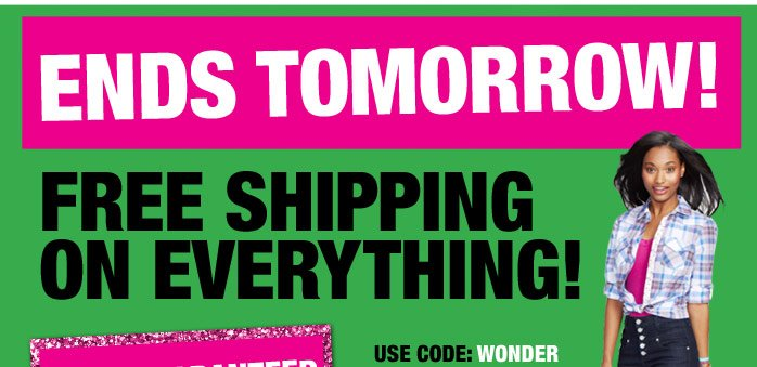 ENDS TOMORROW! FREE SHIPPING ON  EVERYTHING! GUARANTEED Christmas Delivery