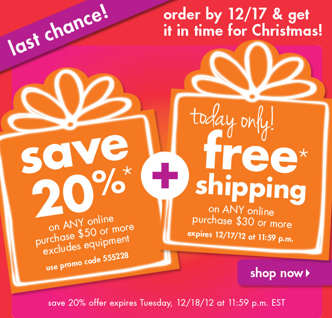 save 20%* + Free* Shipping