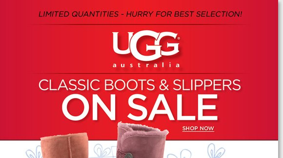 Give the gift of comfort! Find NEW markdowns and save on Classic UGG® Australia Boots & Slippers! Limited quantities available, hurry for the best selection! Enjoy FREE Shipping for delivery by Dec. 24th with any $100 or more purchase, or any regular priced shoe or boot purchase*. Shop now at The Walking Company.