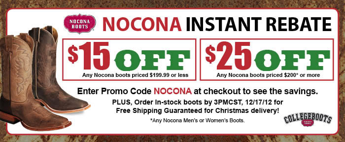 Nocona Instant Rebate