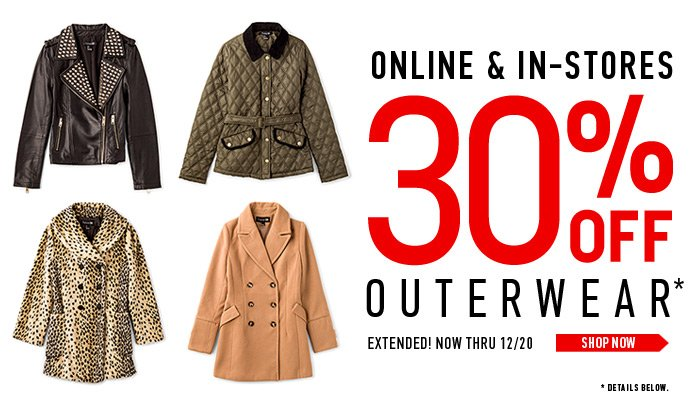 Extended! 30% Off Outerwear - Shop Now