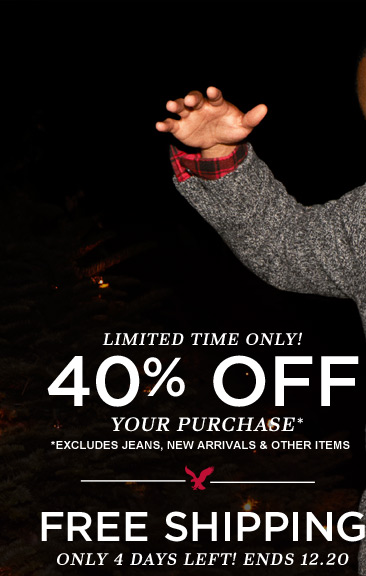 Limited Time Only! 40% Off Your Purchase* | *Excludes Jeans, New Arrivals & Other Items | Free Shipping | Only 4 Days Left! Ends 12.20
