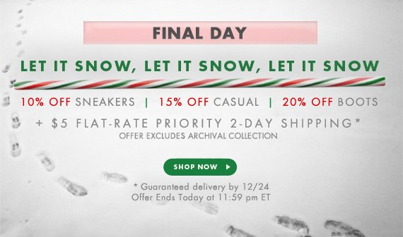 Let It Snow! 10-30% Off + $5 Flat-Rate Priority 2-Day Shipping