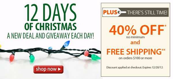 12 Days of Christmas! A new deal and giveaway each day! Plus FREE SHIPPING on orders of $100+