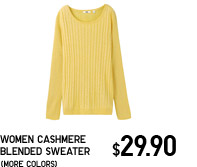 WOMEN CASHMERE BLENDED ROUND NECK SWEATER