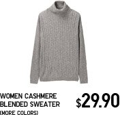 WOMEN CASHMERE BLENDED TURTLE NECK SWEATER