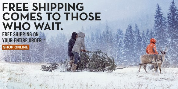 Free shipping comes to those who wait. Free shipping on your entire order.* Shop online