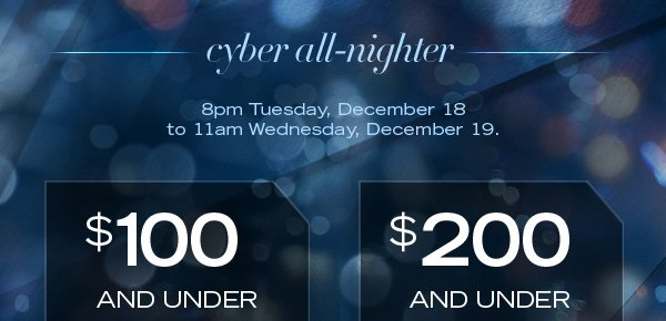 cyber all–nighter / 8pm Tuesday, December 18 to 11am Wednesday, December 19.