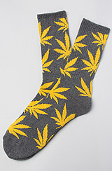 The Plantlife Socks in Charcoal & Yellow
