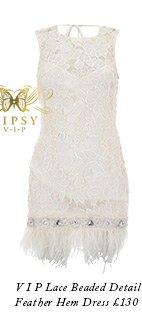 V I P Lace Beaded Detail Feather Hem Dress