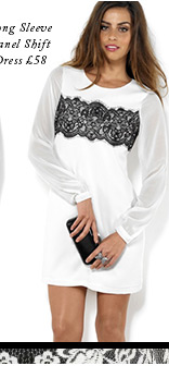 Long Sleeve Panel Shift Dress