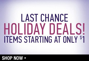 Last Chance Holiday Deals! Items Starting at only $1 - Shop Now
