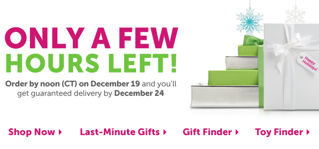 Only A Few Hours Left! Order by noon (CT) on December 19 and you'll also get guaranteed delivery by December 24