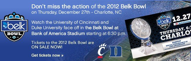 Don't miss the action of the 2012 Belk Bowl on Thursday, December 27th. Get tickets now.