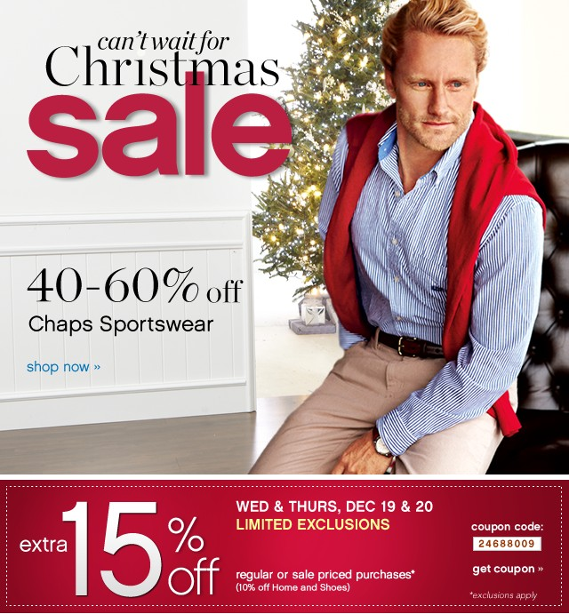 Can't wait for Christmas Sale. 40-60% off Chaps Sportswear. Shop now.