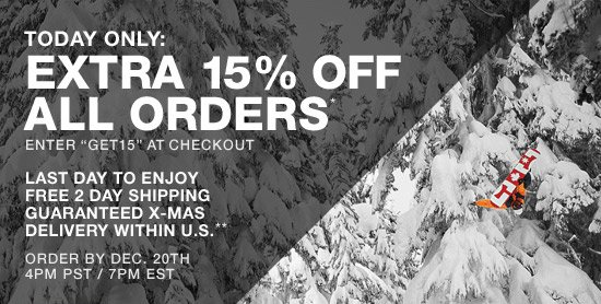 Today Only: Extra 15% Off All Orders* Enter GET15 at checkout. Last day to enjoy free 2day shipping guaranteed christmas delivery within the US**
