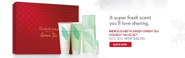 A super fresh scent you'll love sharing. NEW ELIZABETH ARDEN GREEN TEA HOLIDAY VALUE SET. REG. $154. NOW $42.00. SHOP NOW.