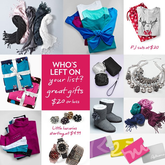 Who's left on your list? Great gifts $20 or less!