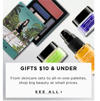 Gifts $10 & Under. From skincare sets to all-in-one palettes, shop big beauty at small prices. See all