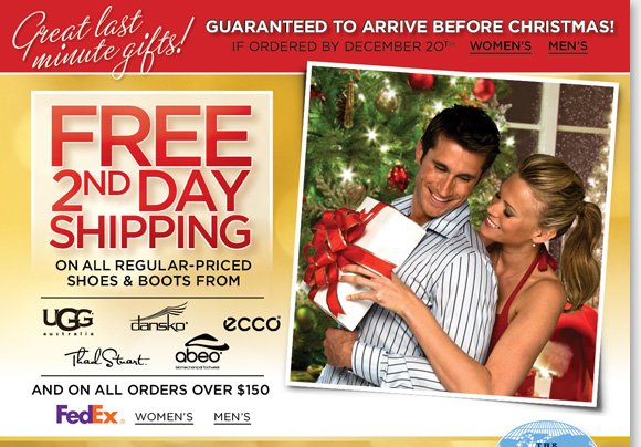 Find great last minute gifts from UGG® Australia, Dansko, ECCO & more. Enjoy FREE 2nd Day Shipping on reg. priced styles or $150 purchase!*Plus, find NEW markdowns and save on Classic UGG® Australia Boots & Slippers! Limited quantities available, hurry for the best selection! Shop now at The Walking Company.
