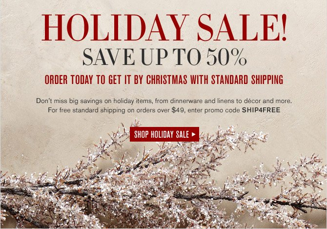 HOLIDAY SALE! - SAVE UP TO 50% - ORDER TODAY TO GET IT BY CHRISTMAS WITH STANDARD SHIPPING -- Don't miss big savings on holiday items, from dinnerware and linens to décor and more. For free standard shipping on orders over $49, enter promo code SHIP4FREE - SHOP HOLIDAY SALE