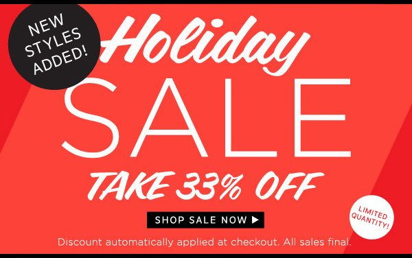 Holiday Sale - Take 33% Off.
