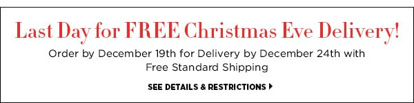 Last Day for FREE Christmas Eve Delivery! Order by December 19th for Delivery by December 24th with Free Standard Shipping. >>