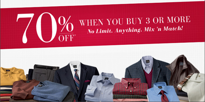 70% OFF* when you buy 3 or more