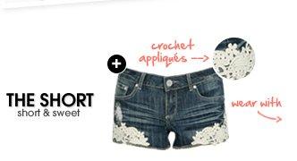 Crochet Applique Denim Short