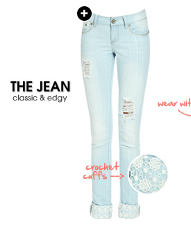 Crochet Cuff Destroyed Jeans
