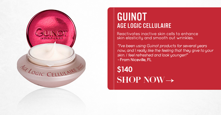 "Guinot Age Logic Cellulaire Reactivates inactive skin cells to enhance skin elasticity and smooth out wrinkles. ""I've been using Guinot products for several years now, and I really like the feeling that they give to your skin. I feel refreshed and look younger!"" –From Niceville, FL $140 Shop Now>>"