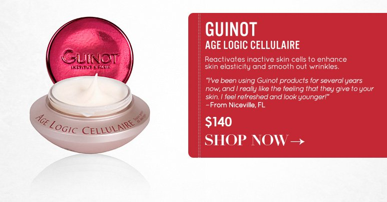 """Guinot Age Logic Cellulaire Reactivates inactive skin cells to enhance skin elasticity and smooth out wrinkles. """"I've been using Guinot products for several years now, and I really like the feeling that they give to your skin. I feel refreshed and look younger!"""" –From Niceville, FL $140 Shop Now>>"""